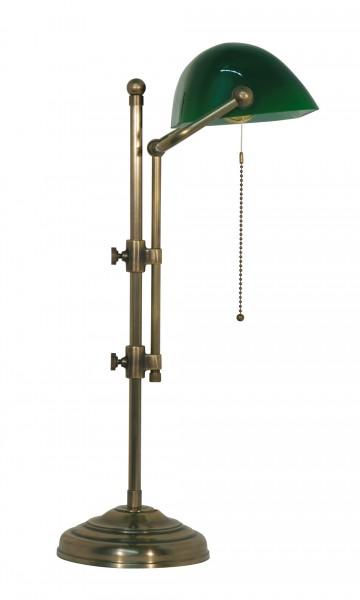Bankers Lamp / Bankerlampe / Schreibtischleuchte, Landhaus Stil, Messing antik-handpatiniert (Altmessing), grünes Glas, Höhe 50 cm, 230 V, E27 60 W
